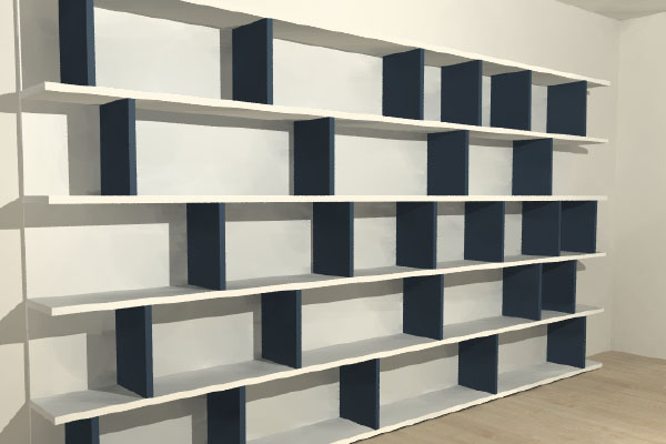 boekenkast op maat met verschillend grote vakken 380 cm breed zonder naad