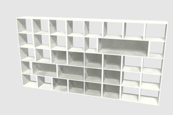 boekenkast op maat met verschillend grote vakken